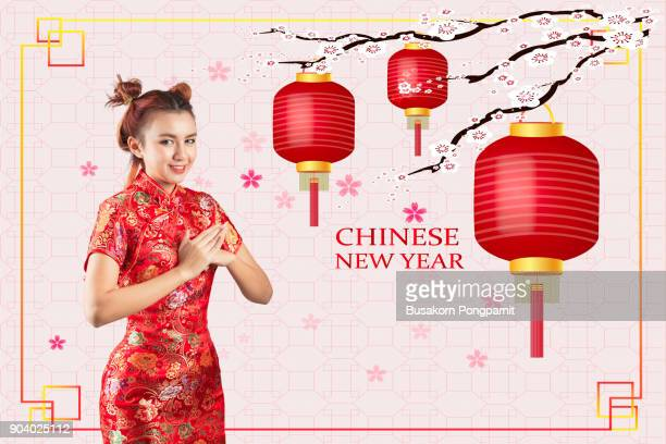 Asian woman chinese new year. on graphics background
