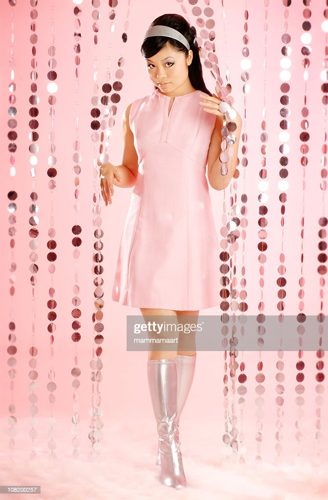 Asian Woman Dressed in Retro Clothing : Stock Photo