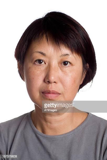 アジア女性のポートレート、フロントの眺め