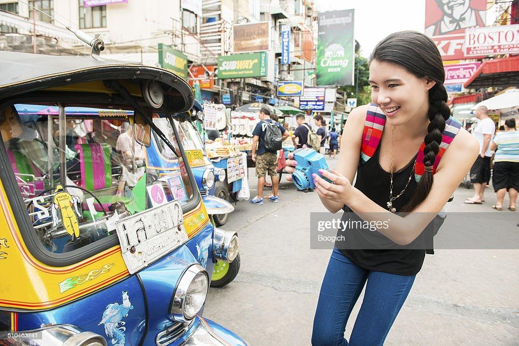 Asian Woman Having Fun on Khao San Road Bangkok Thailand : Stock Photo