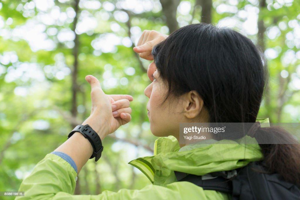 Asiatische Frau Wanderer zu Fuß unterwegs in der Natur. : Stock-Foto