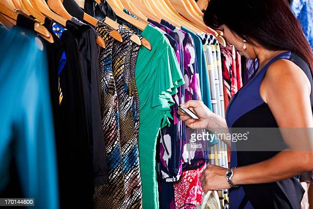 Asian woman in clothing store