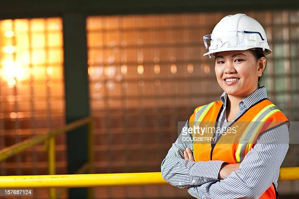 Asian woman in factory