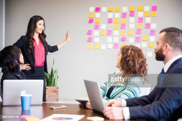 Asian Woman Leads Business Team Meeting in the Conference Room