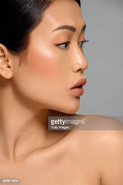 Asian Woman Looking Right Side