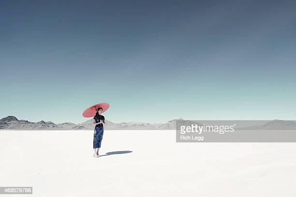 Asian Woman on Salt Flats