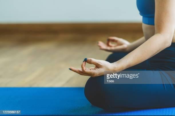 meditation exercise asian woman practicing yoga
