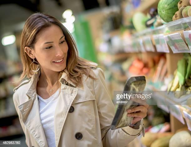 Asian woman shopping at the market