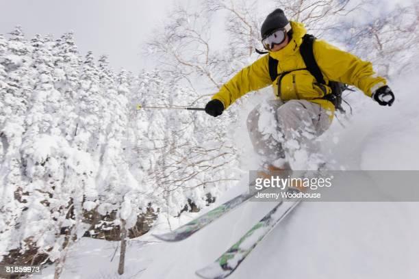 Asian woman skiing