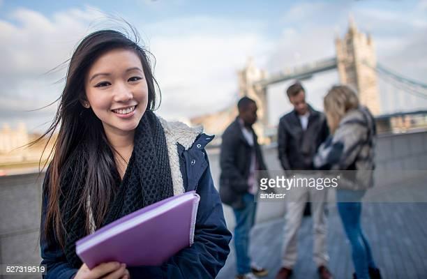 Asian woman studying English