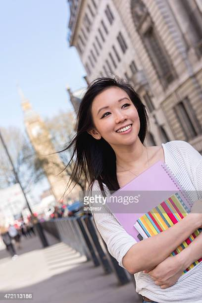 Asian woman studying in London