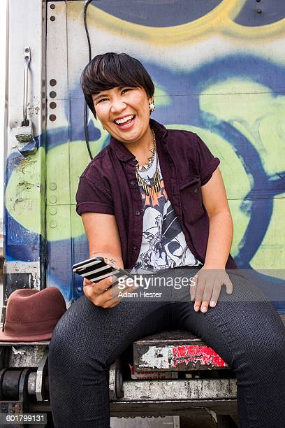 Asian woman using cell phone