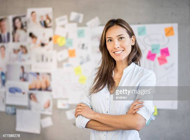 Asian woman working at a creative office