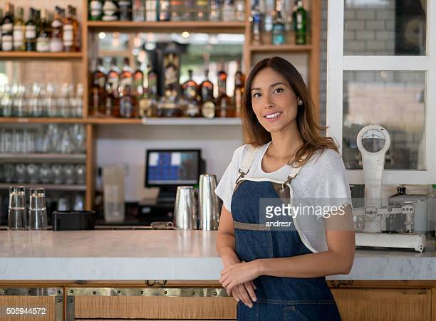 Asian woman working at a restaurant
