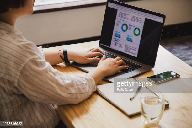 asian woman working at home - infographics stock pictures, royalty-free photos & images