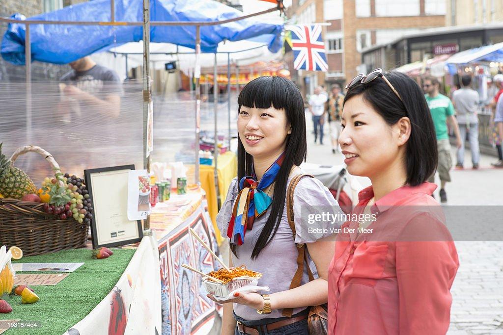 Asian women choosing food at foodmarket. : Stock Photo