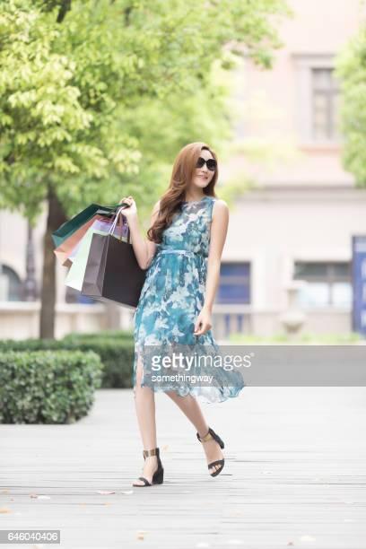 Asian women happy shopping