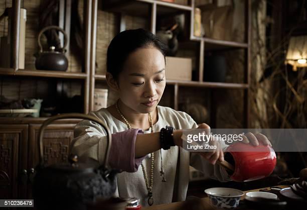 Asian women in tea room