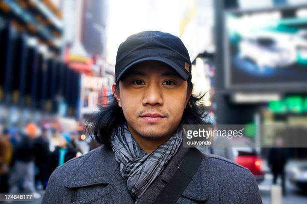 Asian Young Man Portrait in New York City Times Square