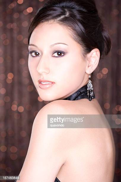 Asian Young Woman Beauty Portrait in Evening Gown and Updo