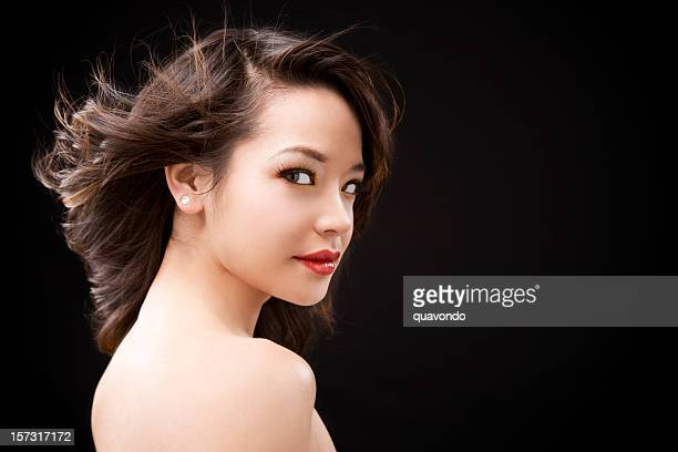 Asian Young Woman, Beauty Portrait on Black