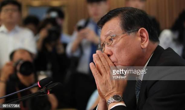 Asiana Airlines chairman Park Samkoo attends a press conference in Seoul on July 4 2018 The chairman of South Korea's Asiana Airlines on July 4...