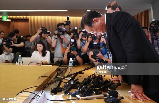 Asiana Airlines chairman Park Samkoo bows during a press conference in Seoul on July 4 2018 The chairman of South Korea's Asiana Airlines on July 4...