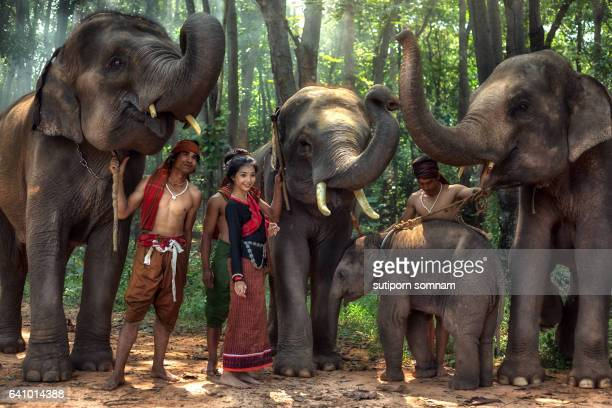 Asian,Kui young people women and men with elephant