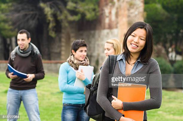 Asiatic female college student on the park