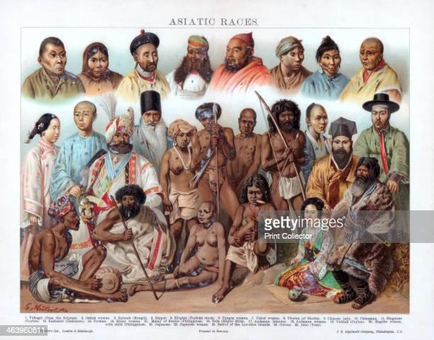 'Asiatic Races' 19th century Yukagir Ostiak woman Kalmuk Rajput Kirghiz Tungus woman Yakut woman Tibetan Chinese lady Chinaman Singalese Kashmiri...