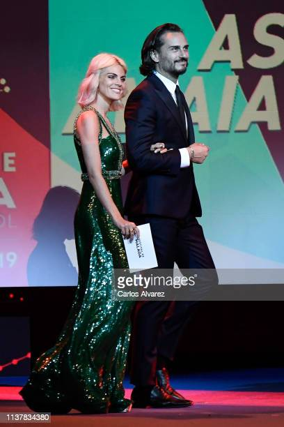 Asier Etxandia and Amaia Salamanca attend the Malaga Film Festival 2019 closing day gala at Cervantes Theater on March 23 2019 in Malaga Spain