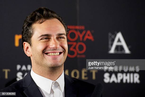 Asier Etxeandia and Emma Suarez attends to the 'Candidates to Goya Cinema Awards 2016' press conference at Academia de Cine on December 14 2015 in...