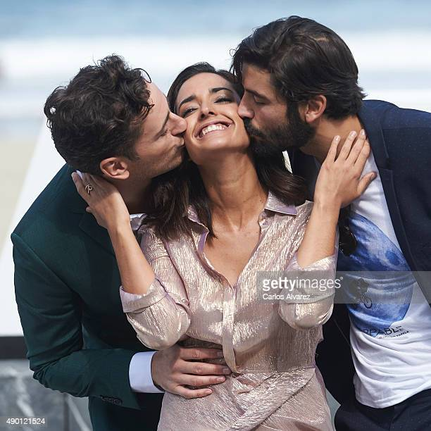 Asier Etxeandia Inma Cuesta and Alex Garcia attend 'La Novia' photocall during 63rd San Sebastian Film Festival at Kursaal on September 26 2015 in...