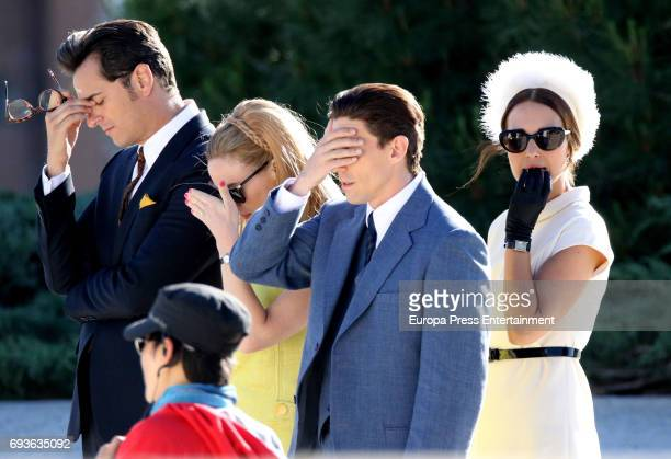 Asier Etxeandia Paula Echevarria Adrian Lastra and Marta Hazas are seen during the set filming of Galerias Velvet on May 19 2017 in Madrid Spain