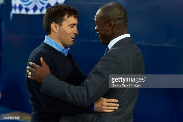 Asier Garitano Manager of CD Leganes shakes hand with Clarence Seedorf Manager of Deportivo De La Coruna prior to the La Liga match between Leganes...