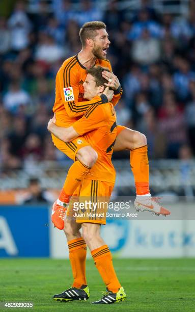 Asier Illarramendi of Real Madrid celebrates after scoring during the La Liga match between Real Sociedad and Real Madrid CF at Estadio Anoeta on...