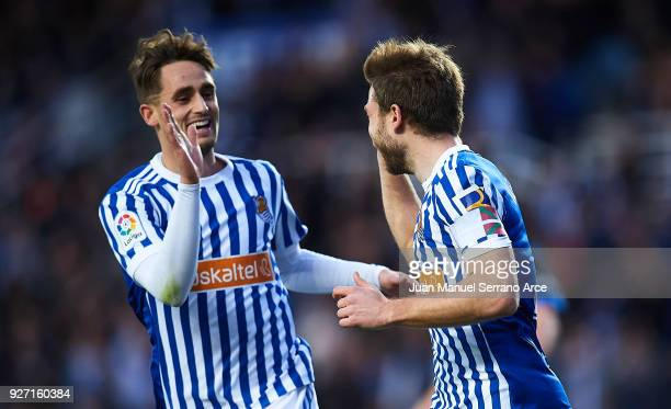 Asier Illarramendi of Real Sociedad celebrates after scoring the second goal for Real Sociedad with Adnan Januzaj of Real Sociedad during the La Liga...