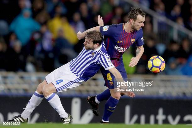Asier Illarramendi of Real Sociedad Ivan Rakitic of FC Barcelona during the La Liga Santander match between Real Sociedad v FC Barcelona at the...