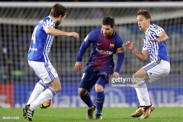 Asier Illarramendi of Real Sociedad Lionel Messi of FC Barcelona during the La Liga Santander match between Real Sociedad v FC Barcelona at the...