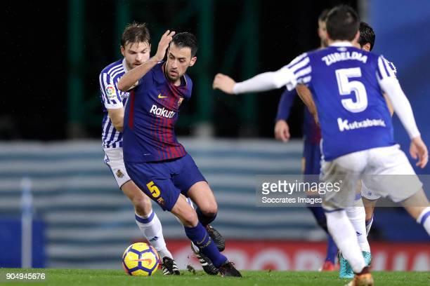 Asier Illarramendi of Real Sociedad Sergio Busquets of FC Barcelona during the La Liga Santander match between Real Sociedad v FC Barcelona at the...