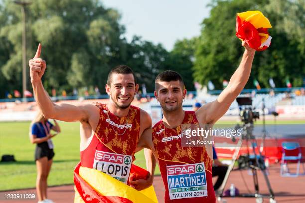 Asier Martinez and Enrique Llopis of Spain pose with the flag after Men's 110m Hurdles Final during 2021 European Athletics U23 Championships - Day 3...