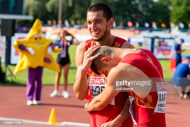 Asier Martinez and Enrique Llopis of Spain reacts after Men's 110m Hurdles Final during 2021 European Athletics U23 Championships - Day 3 at at...