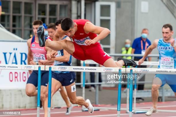 Asier Martinez of Spain compete during Men's 110m Hurdles Round 1 during 2021 European Athletics U23 Championships - Day 2 at at Kadriorg Stadium on...