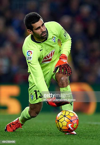 Asier Riesgo of Eibar in action during the La Liga match between FC Barcelona and SD Eibar at Camp Nou Stadium on October 25 2015 in Barcelona Spain
