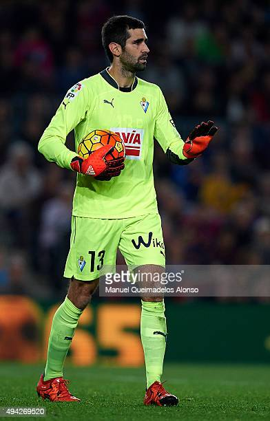 Asier Riesgo of Eibar looks on during the La Liga match between FC Barcelona and SD Eibar at Camp Nou Stadium on October 25 2015 in Barcelona Spain