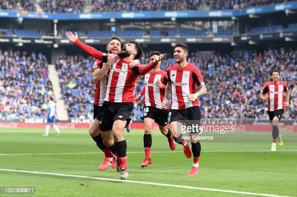 Asier Villalibre of Athletic Bilbao celebrates with his team mates after scoring his team's first goal during the La Liga match between RCD Espanyol...