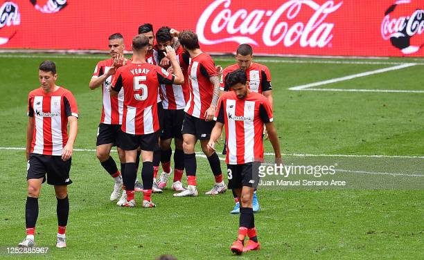 Asier Villalibre of Athletic Bilbao is congratulated after scoring the third goal during the Liga match between Athletic Club and RCD Mallorca at San...