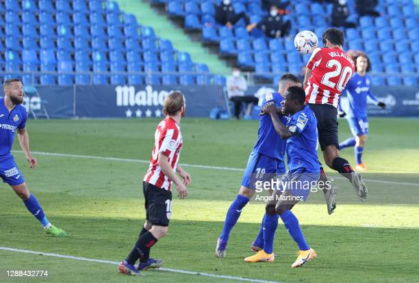 Asier Villalibre of Athletic Bilbao scores their sides first goal during the La Liga Santander match between Getafe CF and Athletic Club at Coliseum...