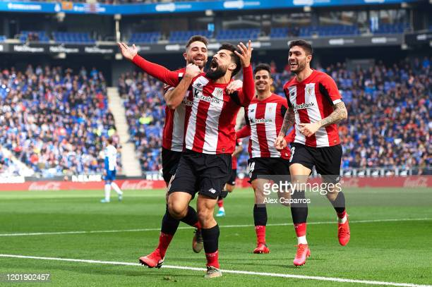 Asier Villalibre of Athletic Club celebrates with his teammates after scoring the opening goal during the Liga match between RCD Espanyol and...