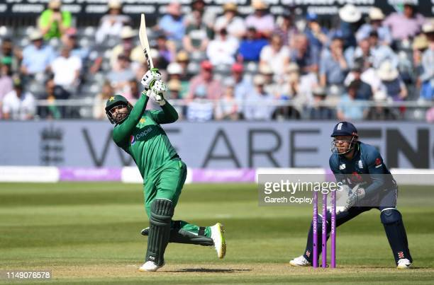 Asif Ali of Pakistan hits out for six runs during the 3rd Royal London One Day International between England and Pakistan at The County Ground on May...
